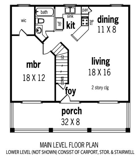 House Plan 048 00033 Narrow Lot Plan 1 110 Square Feet 2 Bedrooms 2 Bathrooms In 2021 Beach House Plans Coastal House Plans Beach Style House Plans