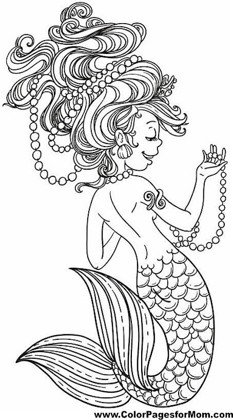 Mermaid Coloring Page 22 | February coloring | Pinterest | Colorear ...