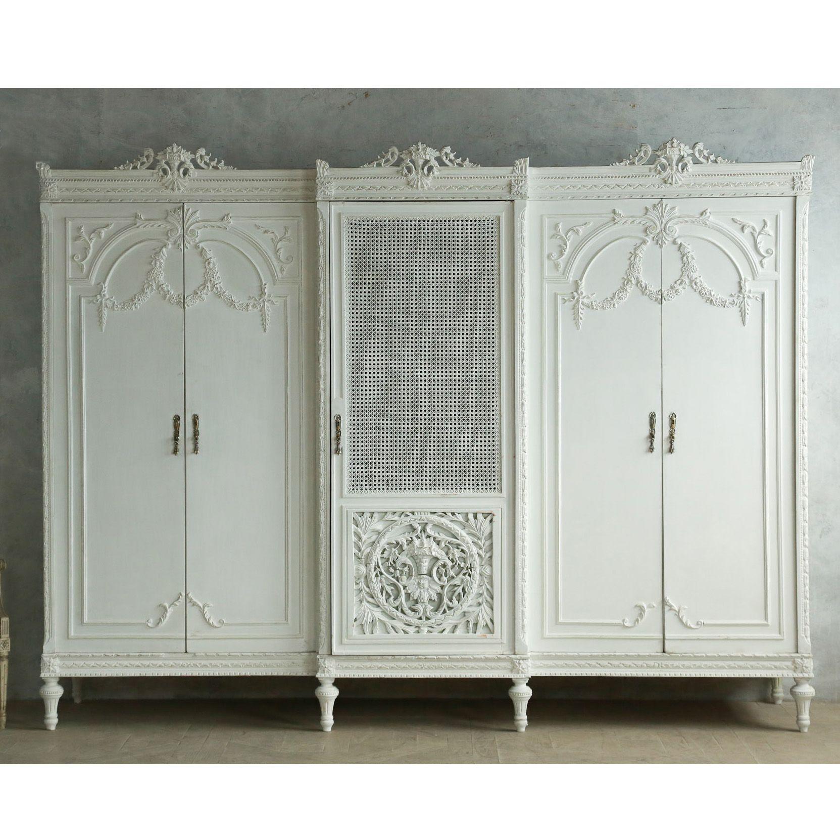 Built In French Armoire Closet | ... Vintage Louis XVI Style Wardrobe Cane  Grey