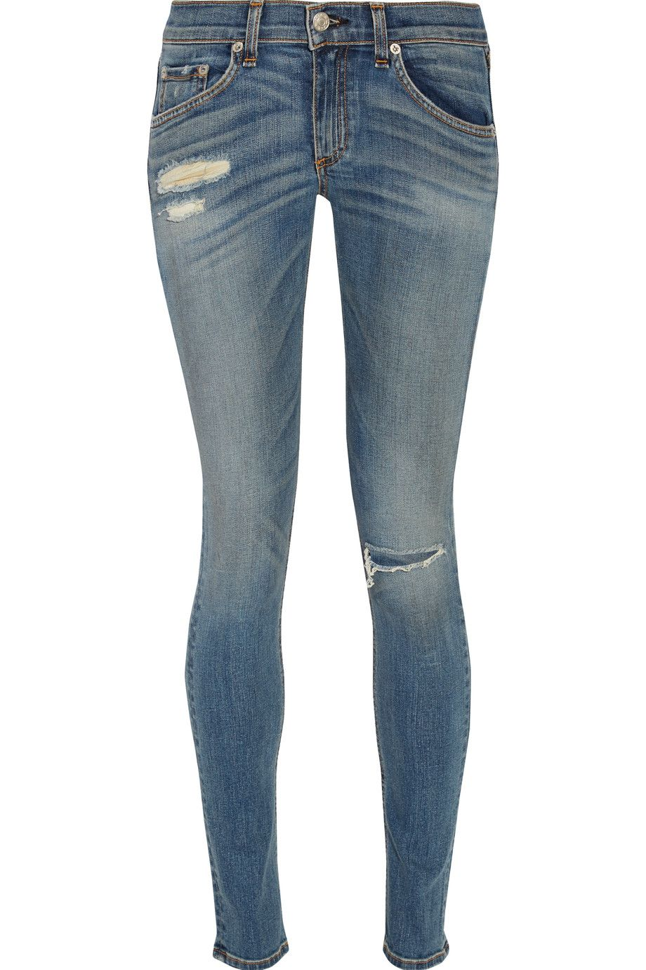 Rag & Bone Distressed mid-rise skinny jeans | Pretty Little Liars