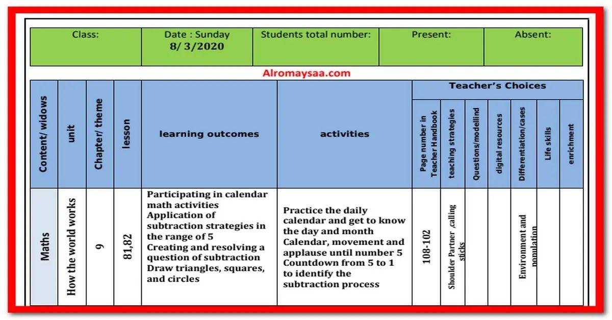 شبكة الروميساء التعليمية تحضير المستوى الاول Kg1 لغات من الاحد 8 مارس الى ا Teaching Math Activities Lesson