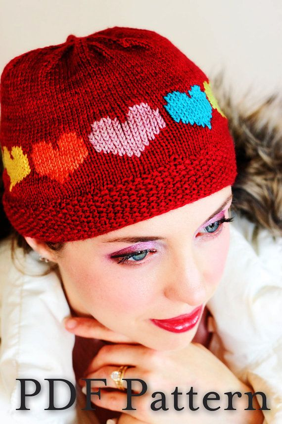 Heart Hat Knitting Pattern Duplicate Stitch A Rainbow Of Hearts Over