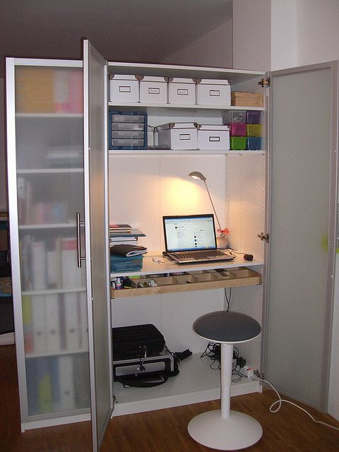 Ikea Pax Wardrobe As Home Office W Slide Out Organizer Drawer