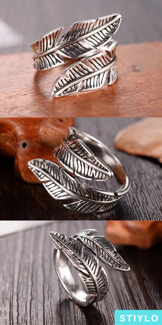 Angel Feather Sterling Silver Finger Ring in 2020