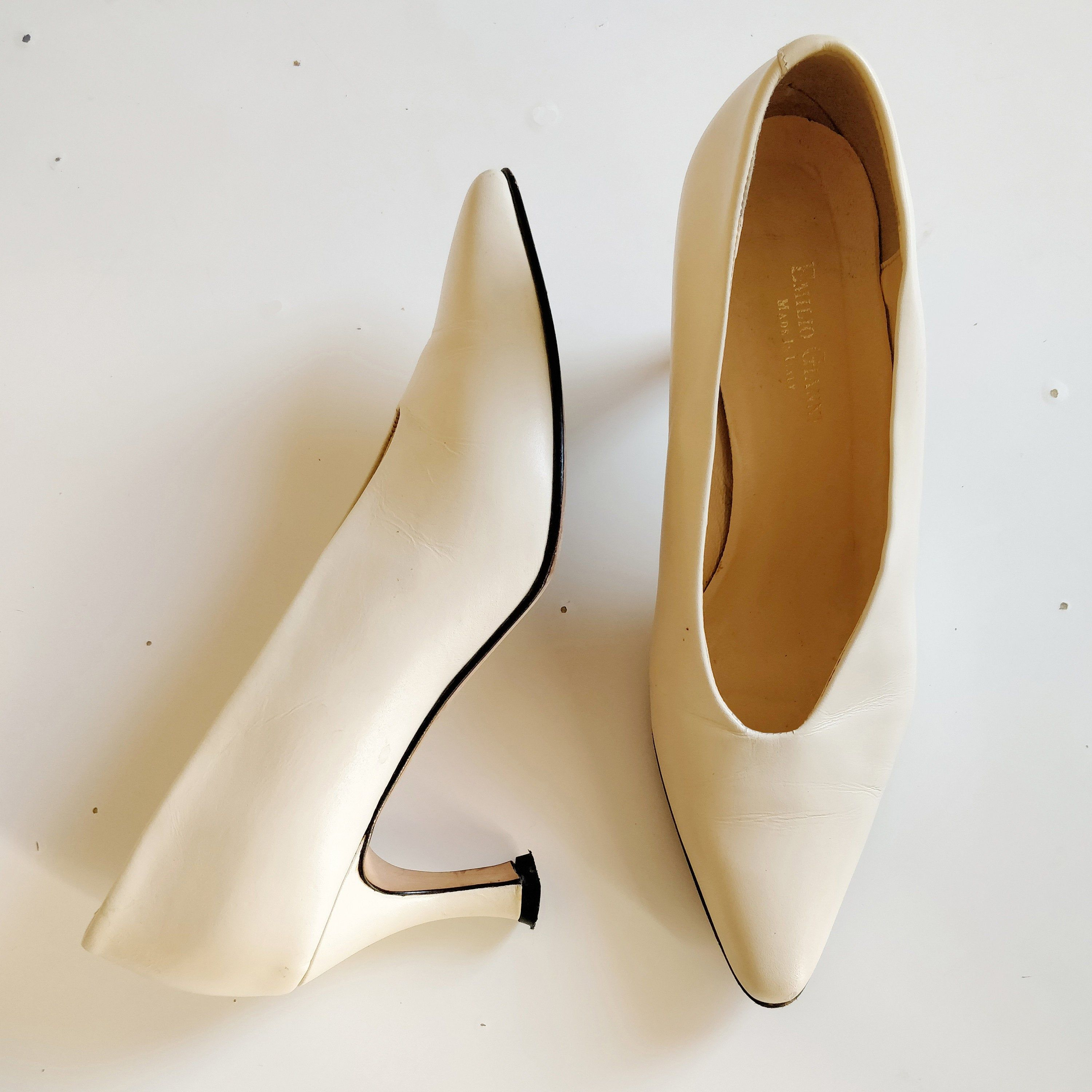 80s Emilio Gianni V Neck Leather Pumps Made In Italy Leather Pumps Pumps Leather