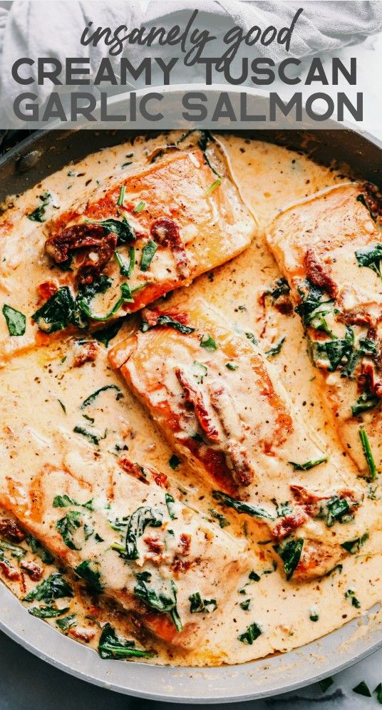 Tuscan Garlic Salmon is an easy 30 minute restaurant quality meal. The pa...Creamy Tuscan Garlic Sa