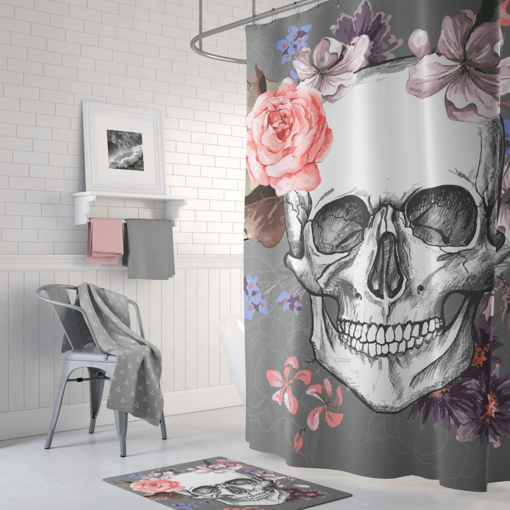 Garden skull shower curtain multiple colors on grey skulls and