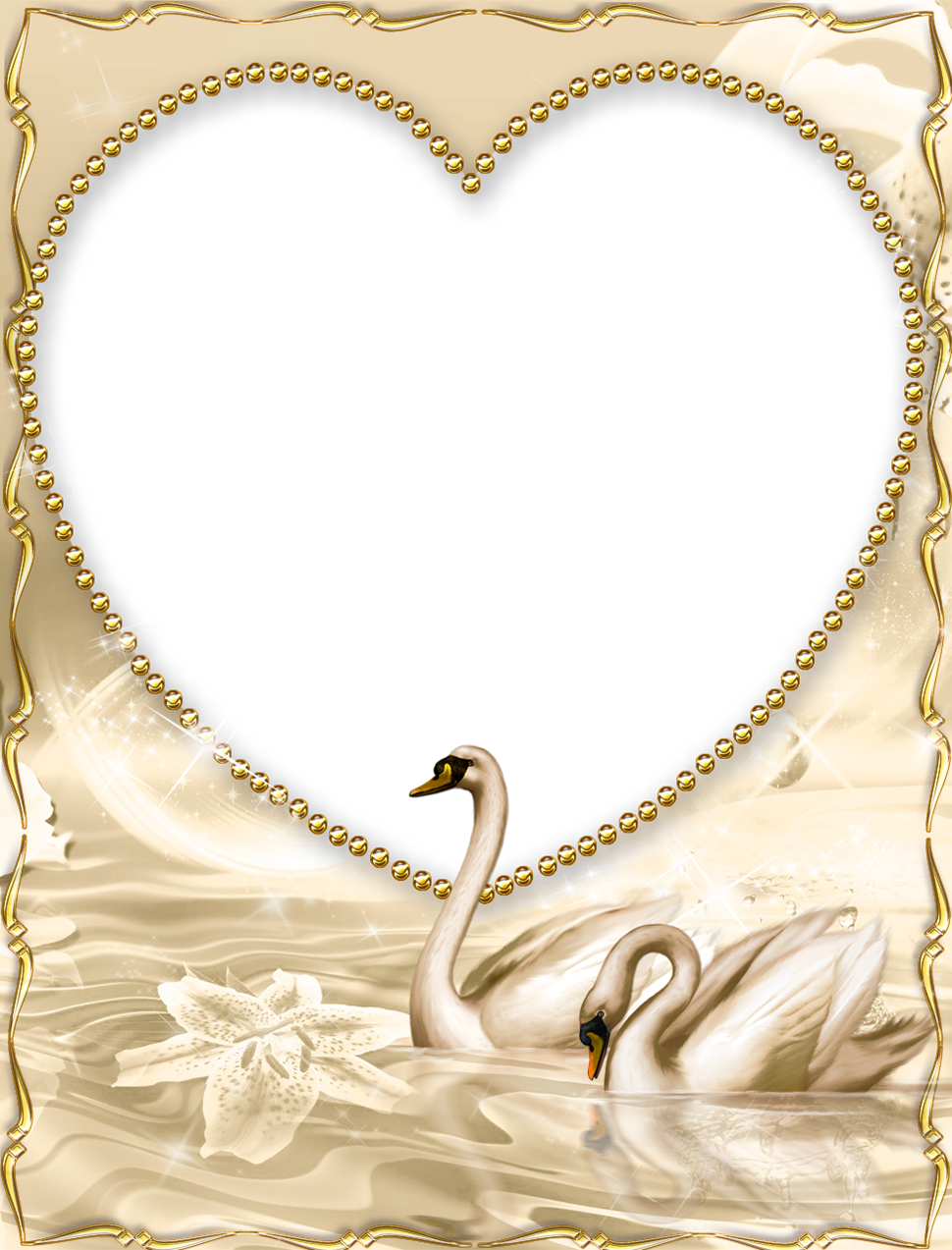 Beautiful Golden PNG Frame with Swan | láminas para ...