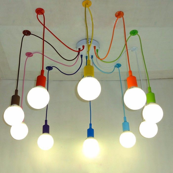 Vintage Colorful Nordic Spider Pendant Lamp Multiple Adjustable