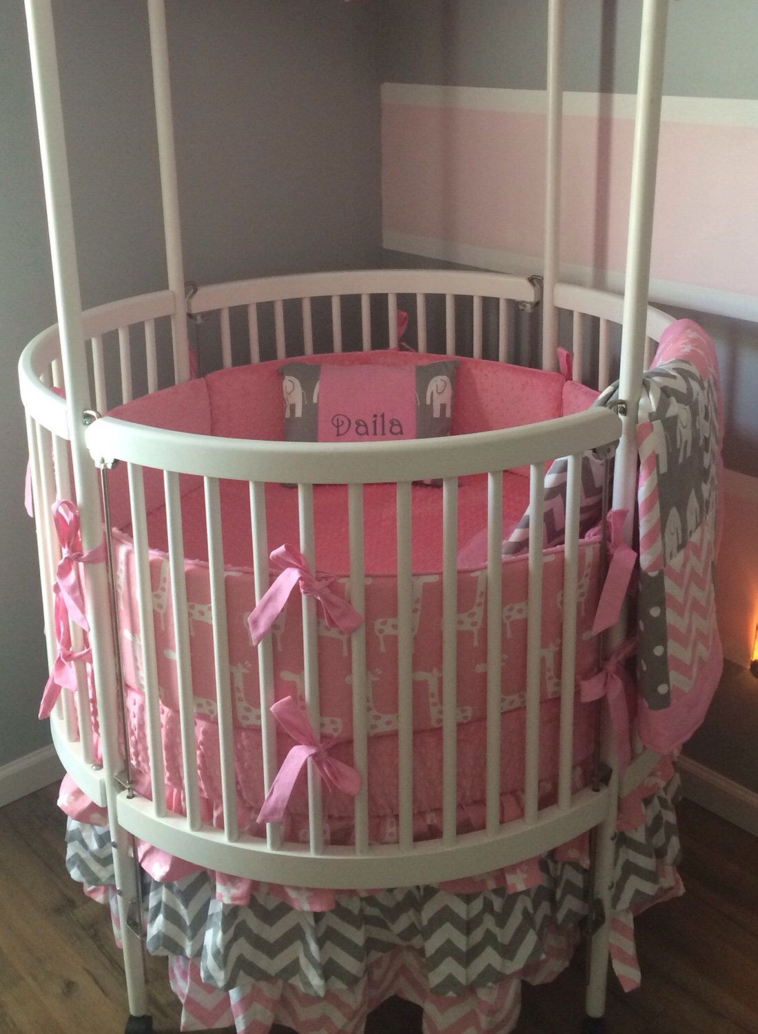 Round Crib Bedding Set Pink And Gray By Butterbeansboutique On