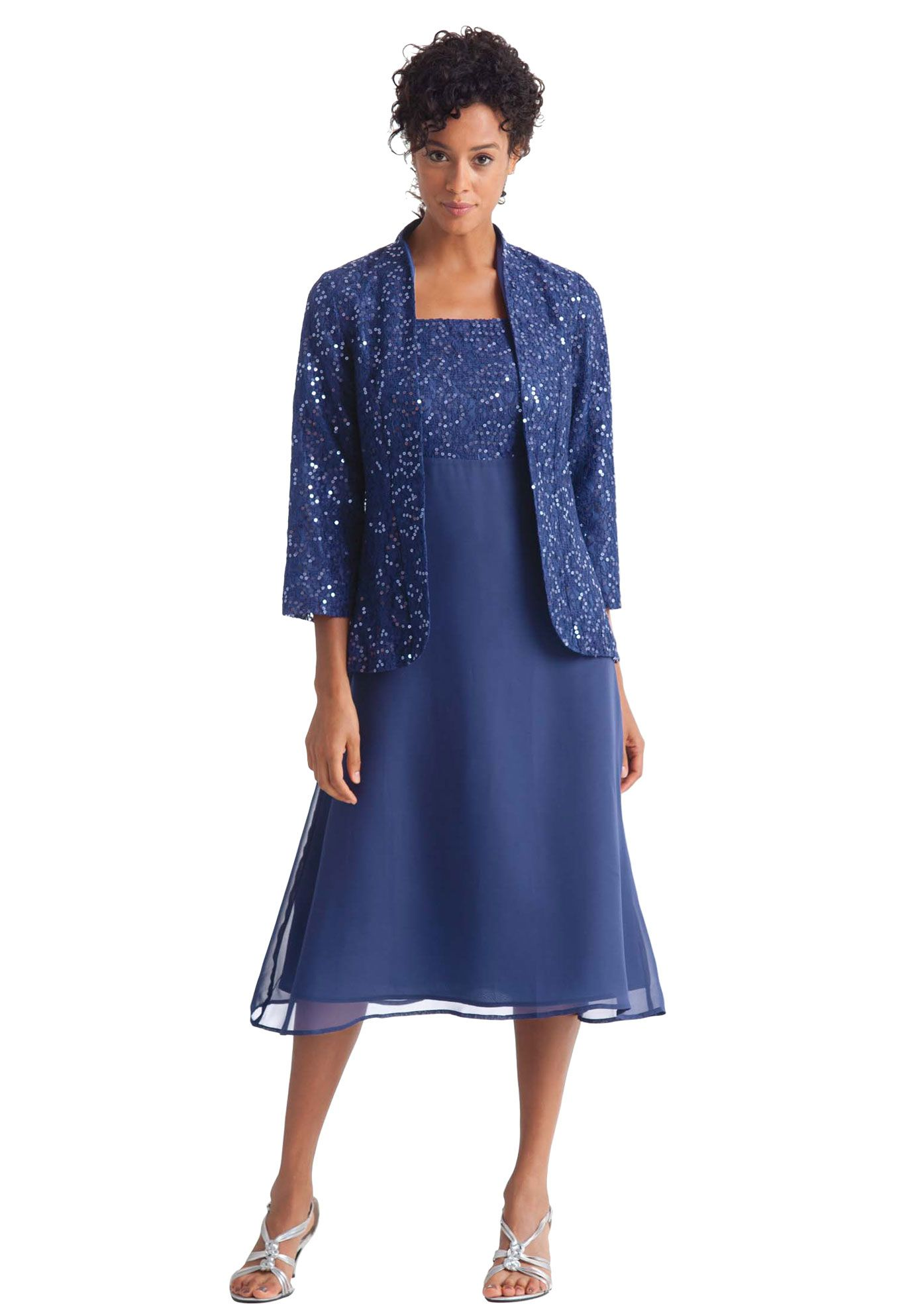 Jacket And Dress Set In A Cool Fabric With Rich Sequined Lace Plus