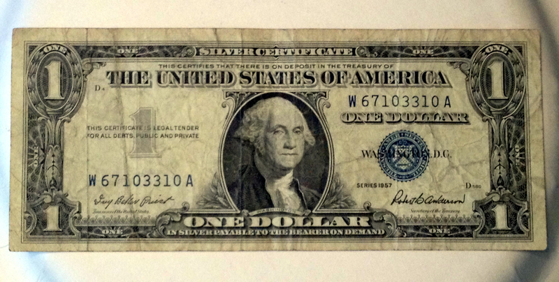 1957 Blue Seal Silver Certificate One Dollar Bill I don\'t know what ...