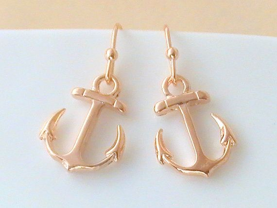Rose Gold Anchor Earrings Nautical Wedding by Crystalshadow The