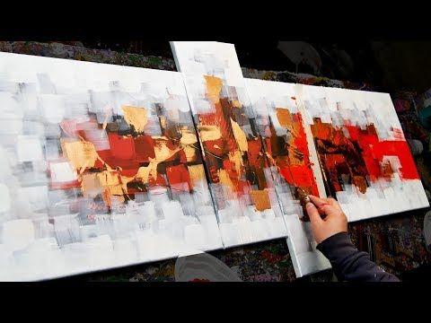 Démonstration De Peinture Abstraite Couteaux Pinceaux Intermind