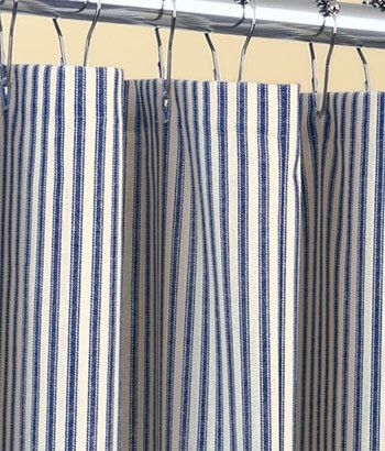 Classic Ticking Stripe Shower Curtain Navy Blue And Ivory Cotton