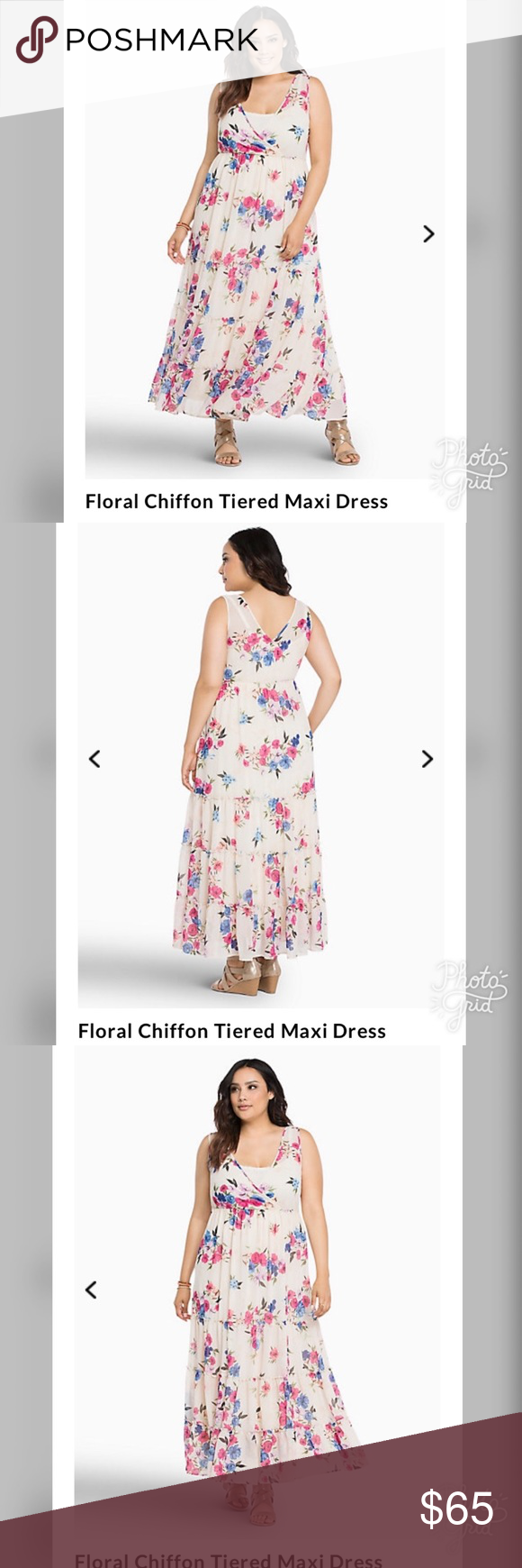 806bbd6da8 Torrid Floral Chiffon Tiered Floral Maxi Dress 00 Torrid Floral Chiffon  Tiered Floral Maxi Dress 00 Size 10 NEW torrid Dresses Maxi