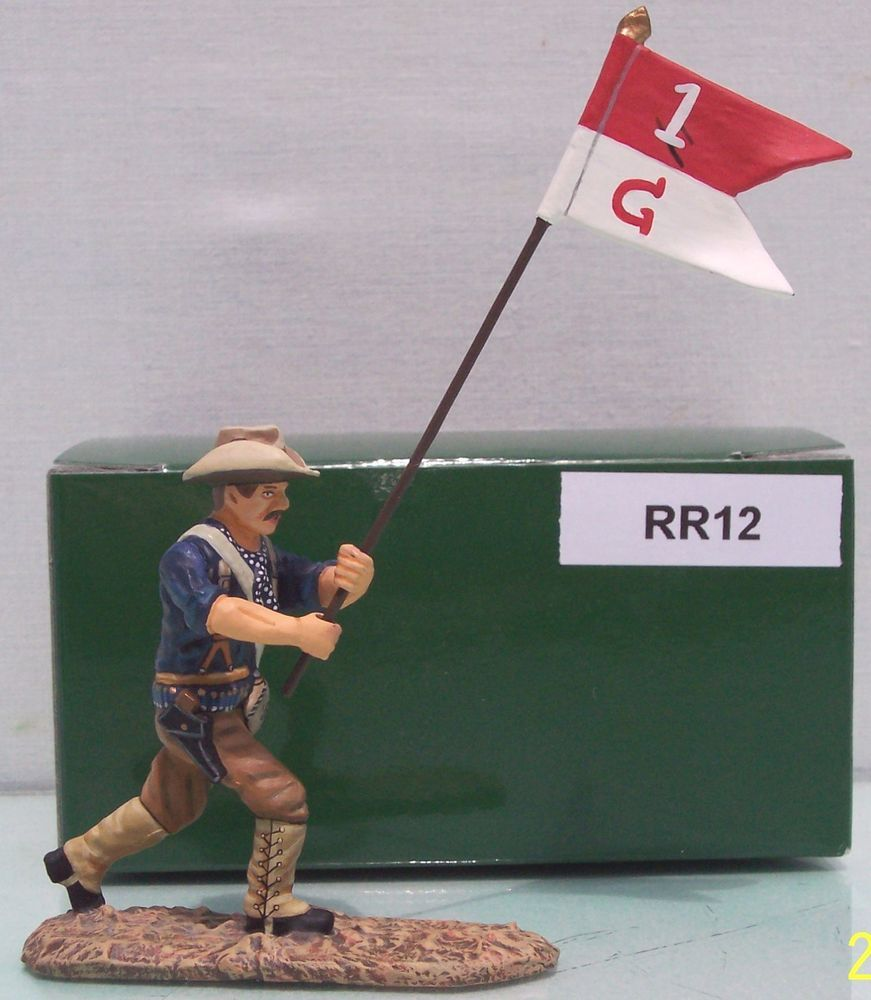 Spanish American War 1898 RR12 Rough Rider Guidon Bearer - Made by King and Country Military Miniatures and Models. Factory made, hand assembled, painted and boxed in a padded decorative box. Excellent gift for the enthusiast.