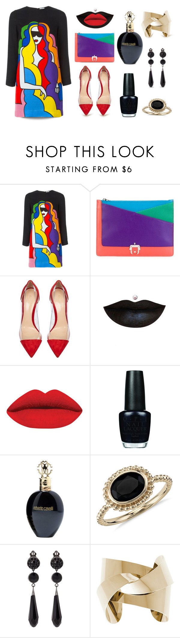 """""""Print Dress..."""" by unamiradaatuarmario ❤ liked on Polyvore featuring Au Jour Le Jour, Paula Cademartori, Gianvito Rossi, OPI, Roberto Cavalli, Blue Nile, Givenchy, women's clothing, women and female"""