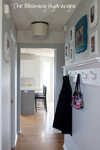 DIY entryway wall hooks. good for a small hallway