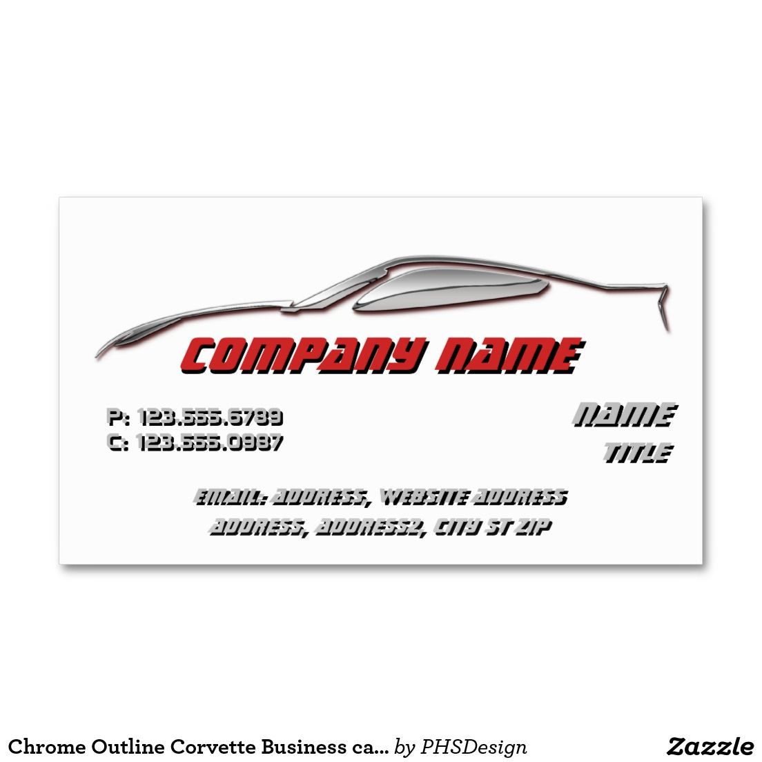 Chrome outline corvette business cards business card templates chrome outline corvette business cards colourmoves
