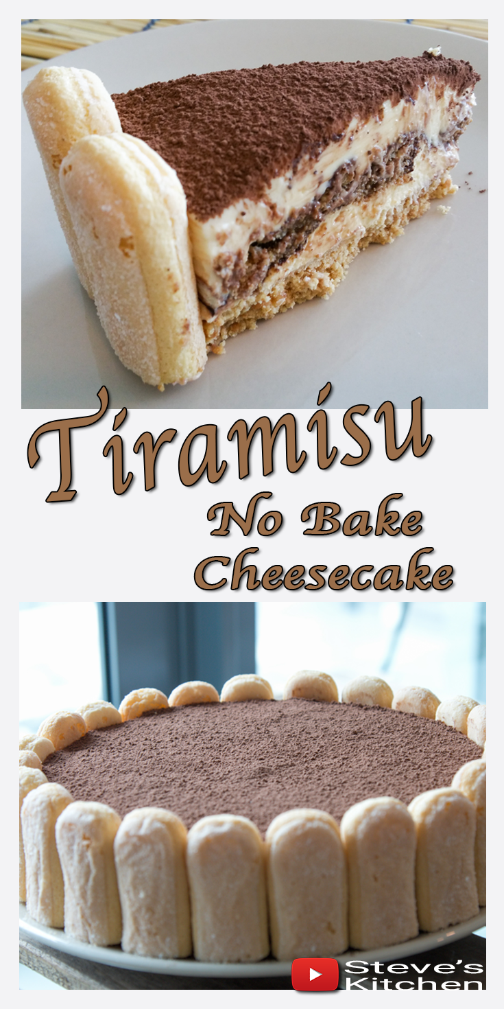 How to make No Bake Tiramisu Cheesecake is part of Italian dessert No Bake - Tiramisu Cheesecake   now here's a twist on a traditional Italian dessert  Add mascarpone cheese, lady finger biscuits and expresso coffee and you have a no bake cheesecake to die for  If you decide to make this recipe don't forget to share some pictures across to me on Facebook, Twitter, google + or whatever social …