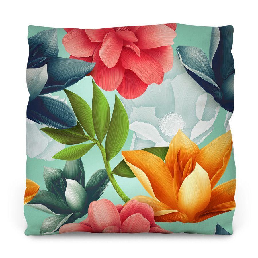Hawaiian Blooms Outdoor Throw Pillow