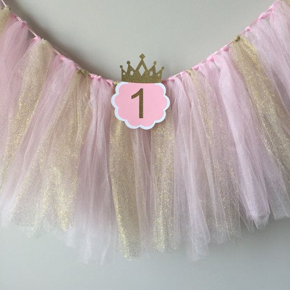 SALE High chair tutu Pink and gold birthday party high