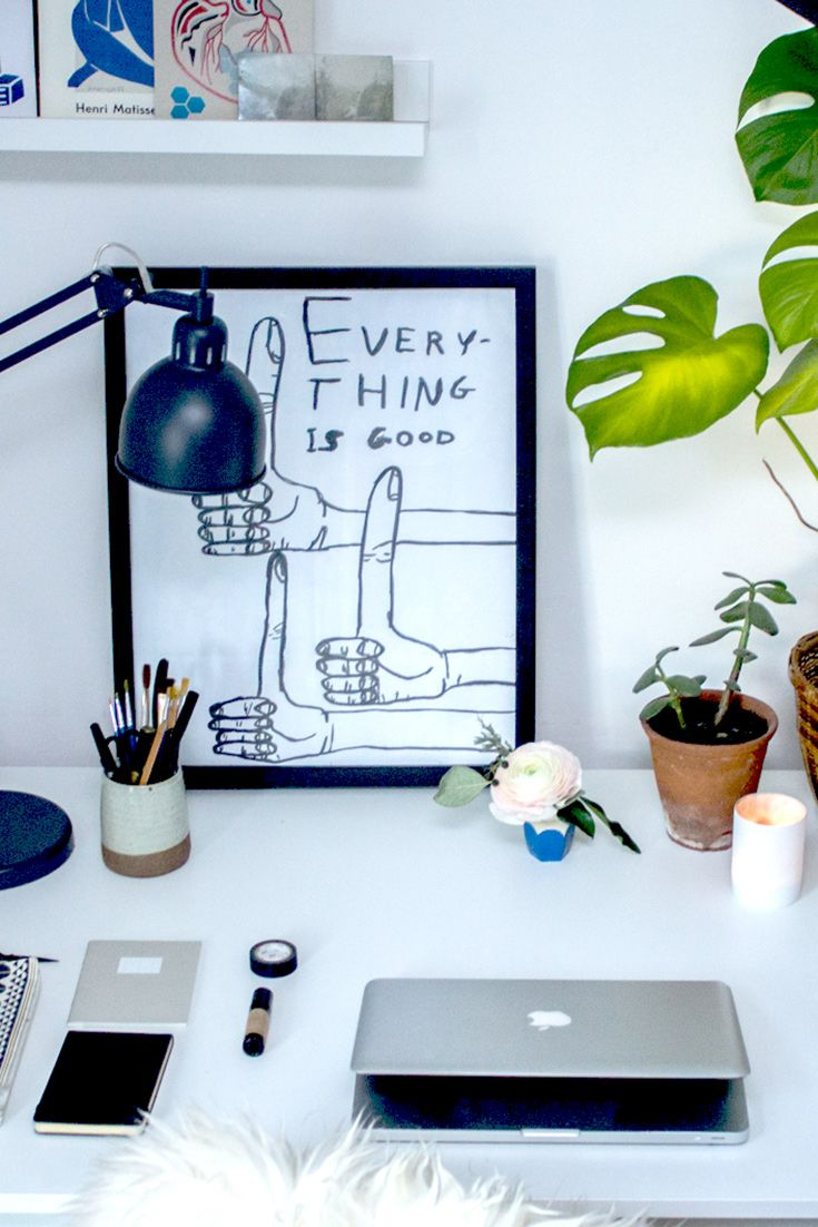 Thumbs up for this simplistic workspace, by stylist and blogger Hannah Bullivant.