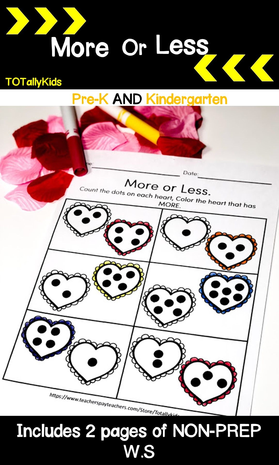 Valentines More Or Less Pre K And Kindergarten B Amp W
