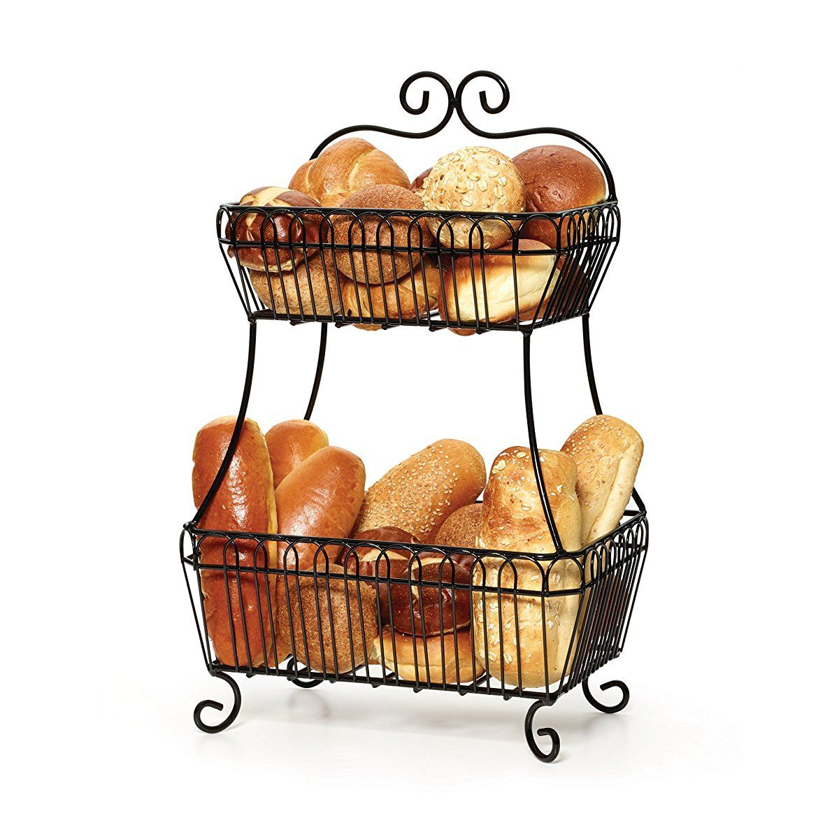 Gourmet Basics by Mikasa Countryside 2-Tier Flat-Back Metal Basket ...