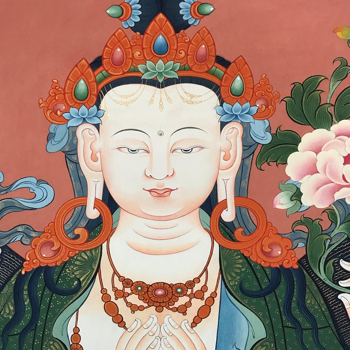 Face detail: Avalokiteśvara is known as Chenrezig, སྤྱན་རས་གཟིགས་ and is said to be incarnated as the Dalai Lama,the Karma and other high lamas. #ColoringForMeditation #TibetanArt #TibetanColoring #Thangka #BuddhistArt #BuddhistColoring
