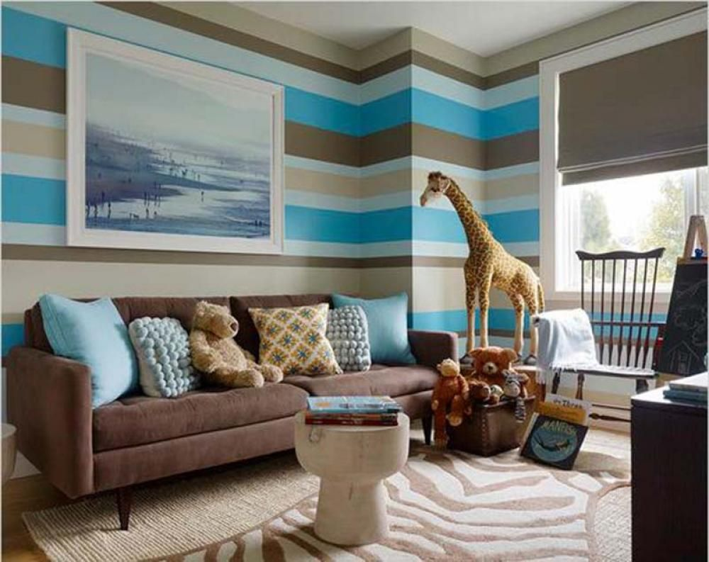 Adorable Living Paint Color Idea with Cool Stripes Wall Pattern in Blue  Brown Cream and White