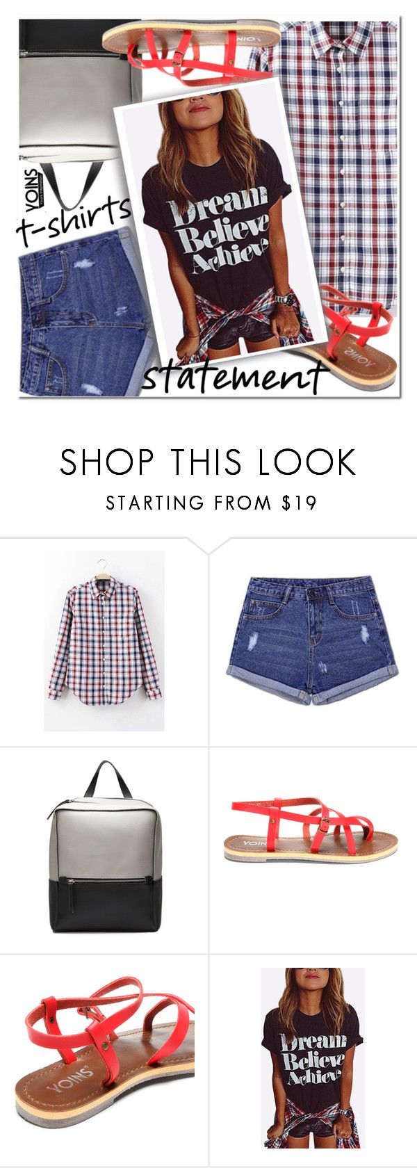 """YOINS - Say What: Statement T-Shirts"" by ansev ❤ liked on Polyvore featuring yoins, yoinscollection and loveyoins"