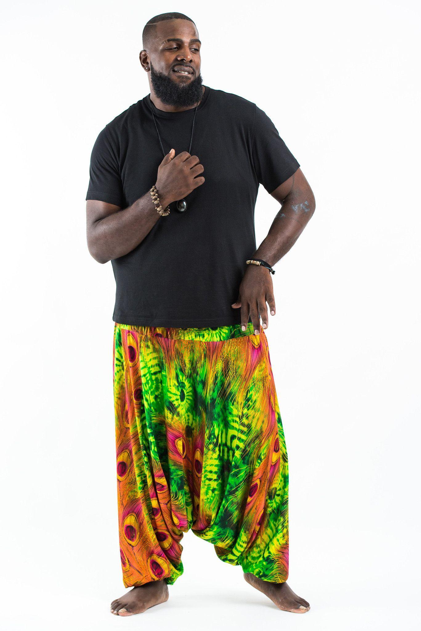 cd6b85e6ffddd Plus Size Tie Dye Peacock Drop Crotch Men s Harem Pants in Green ...