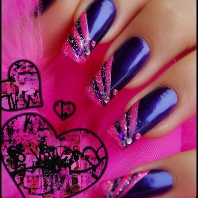 Navy And Hot Pink Prom Nail Designs Trendy Nails Nail Art Designs
