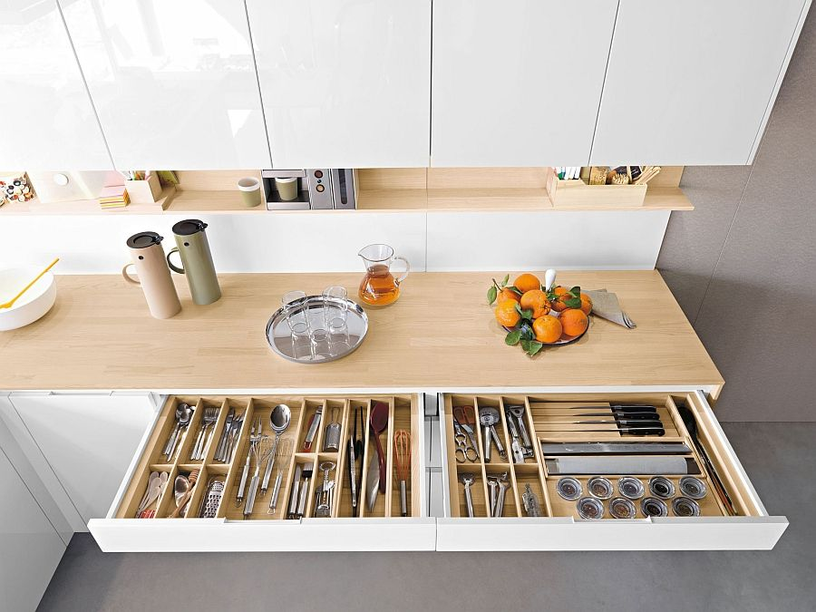 Contemporary Italian Kitchen Offers Functional Storage Solutions Space Saving Kitchen Kitchen Space Kitchen Storage Solutions