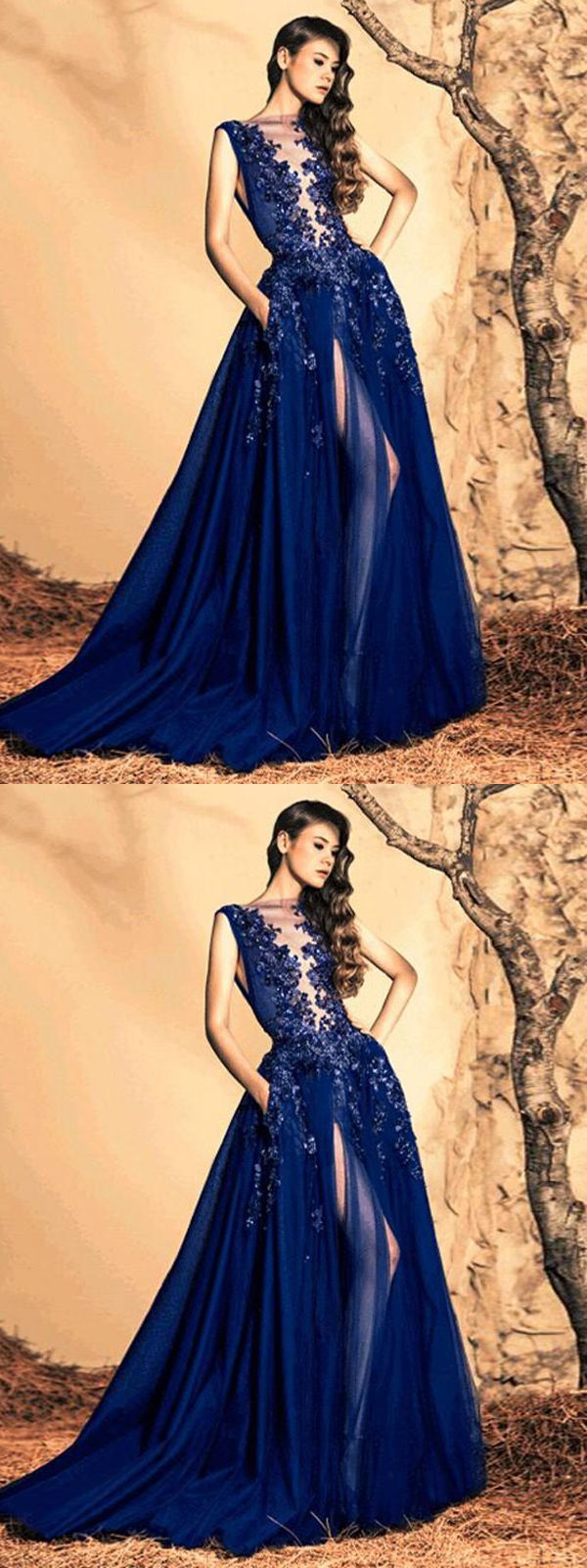 prom dress royal blue brush train appliques sequins prom dress