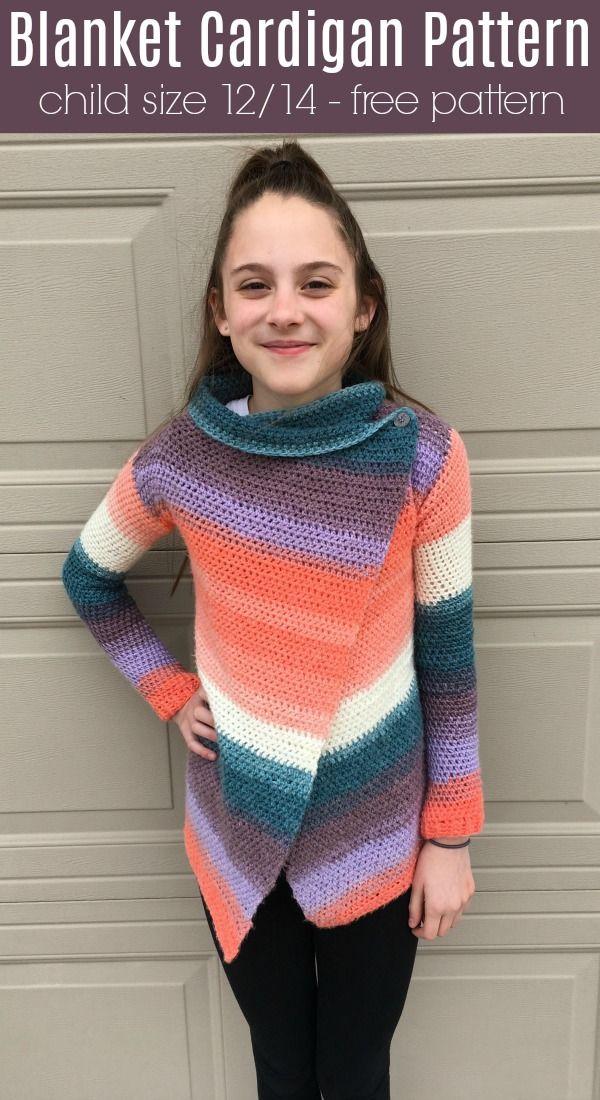 Child Size Blanket Cardigan - Free Pattern - Size 12/14