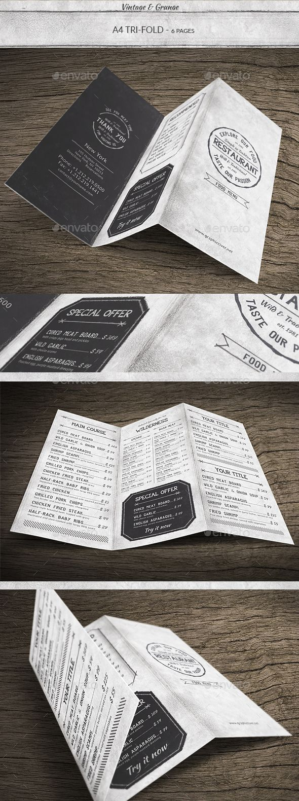 Vintage A Trifold Menu Menu Templates Menu And Template - Folded menu template