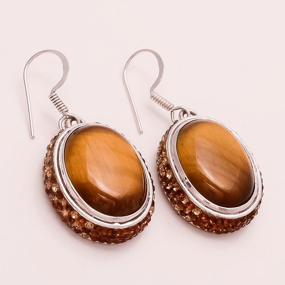 e3be4f100 Natural Gigantic Mexican Golden Flame Tiger Eye Gemstone Sterling Silver  Earring #Handmade #Handmade #EidGift