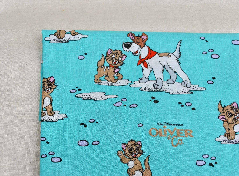 Vintage Disney OLIVER & COMPANY Cartoon Character Fabric ...