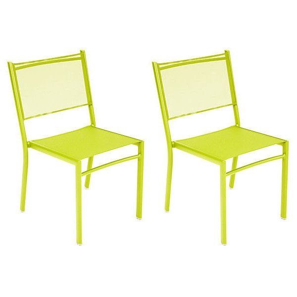 lime green patio furniture. Lime Costa Side Chair Set Of 4 Outdoor Bistro Chairs (£950) ❤ Liked Green Patio Furniture A