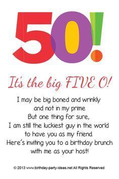 50th Birthday Party Invitation Sayings