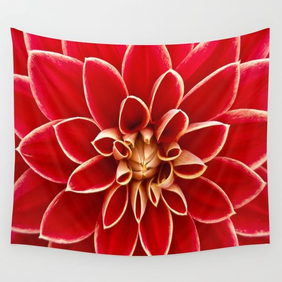 Red Dahila Wall Tapestry