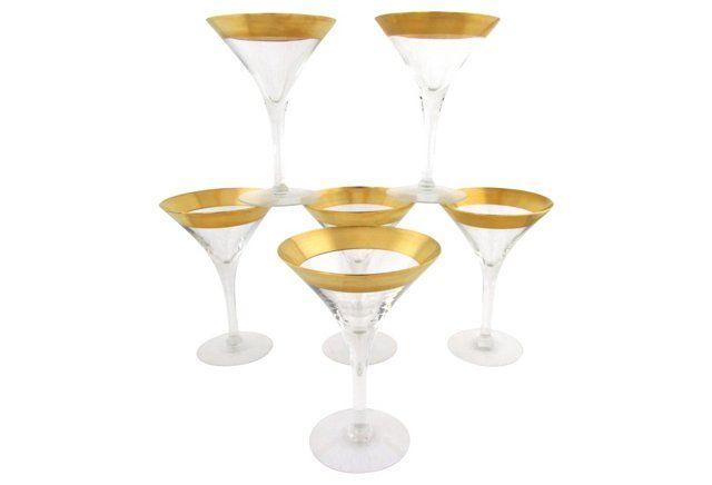 Dorothy Thorpe Gold-Rim Martinis, S/6