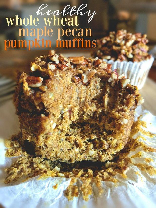 Healthy Whole Wheat Maple Pecan Pumpkin Muffins