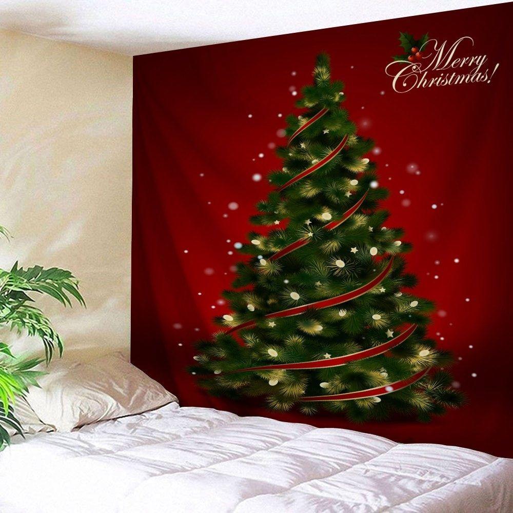 Wall Hanging Decoration Christmas Tree Print Tapestry Christmas Wall Hangings Hanging Wall Decor Printed Tapestries