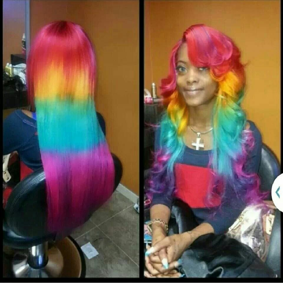 Rainbow Weave Hair Styles Black Girl Red Hair Hair Color