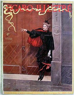 Antique Figaro Illustre Cover Halloween Woman