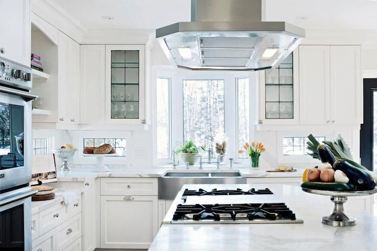 Bright, Bright Kitchen With Bay Window Over Stainless Sink   Under Cabinet  Windows
